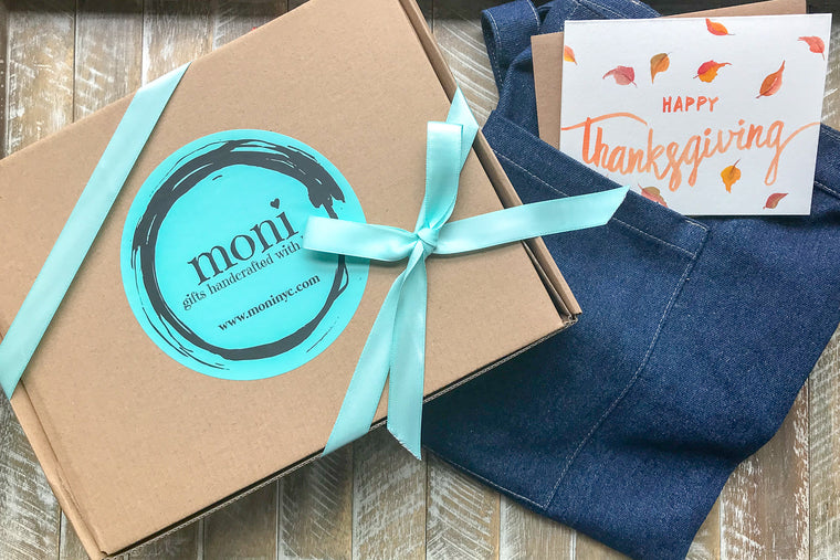 Long Denim Apron w/Thanksgiving Card