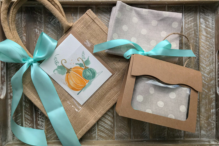 Natural Linen Kitchen Towel w/Thanksgiving Card