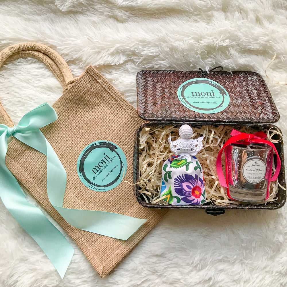 Christmas Gift Box #5 (Crocheted Folk Angel & Small Pine Candle)