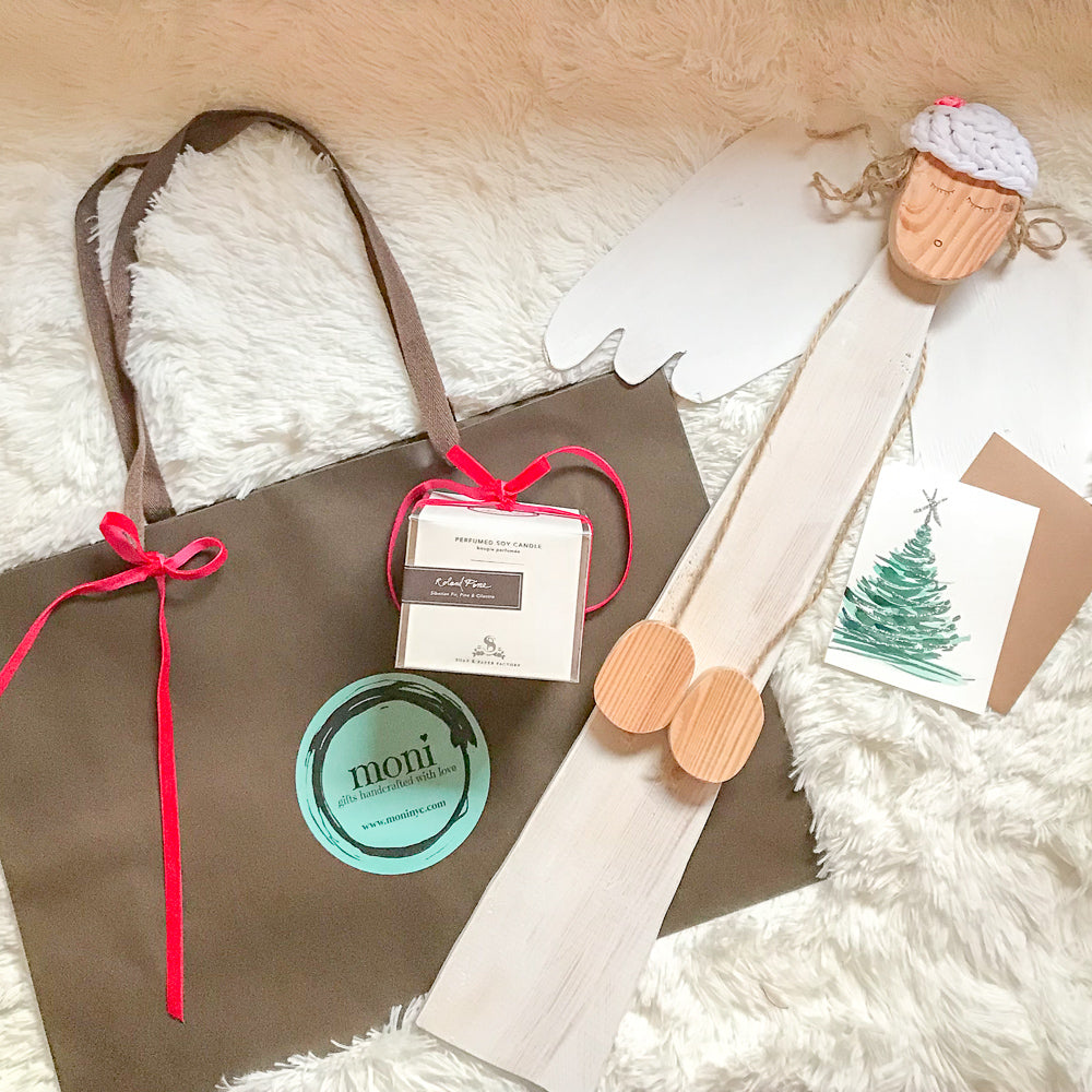 Christmas Gift Set (Extra Large Wooden Angel)