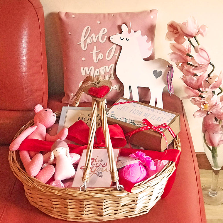 Valentine's Day Baby Girl Gift Basket w/Teddy Bear