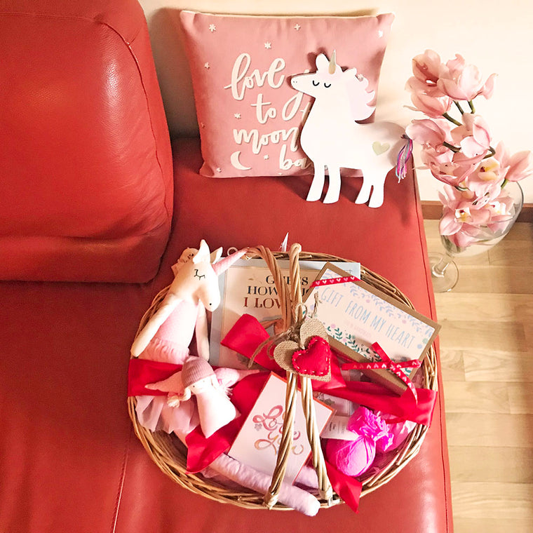 Valentine's Day Baby Girl Gift Basket w/Unicorn