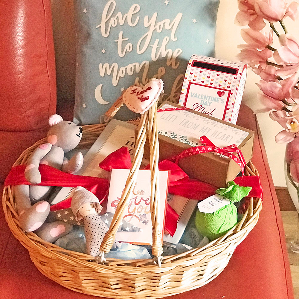 Valentine's Day Baby Boy Gift Basket w/Teddy Bear