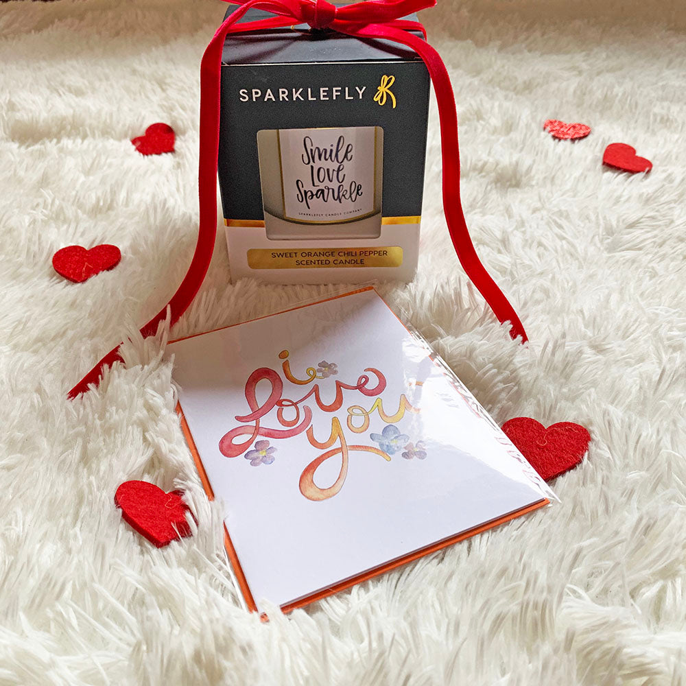 "Valentine's Day ""Smile Love Sparkle"" Scented Candle (Sweet Orange Chili Pepper)"