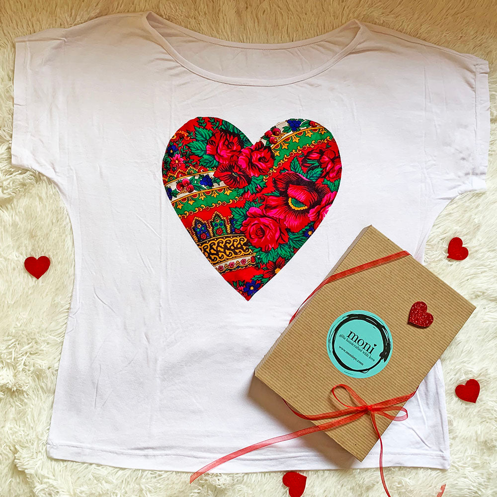 Valentine's Day Folk Blouse with Heart (White)