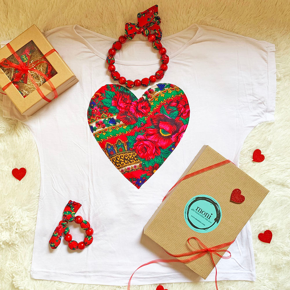 Valentine's Day Folk Blouse w/Heart & Jewelry Set (White)