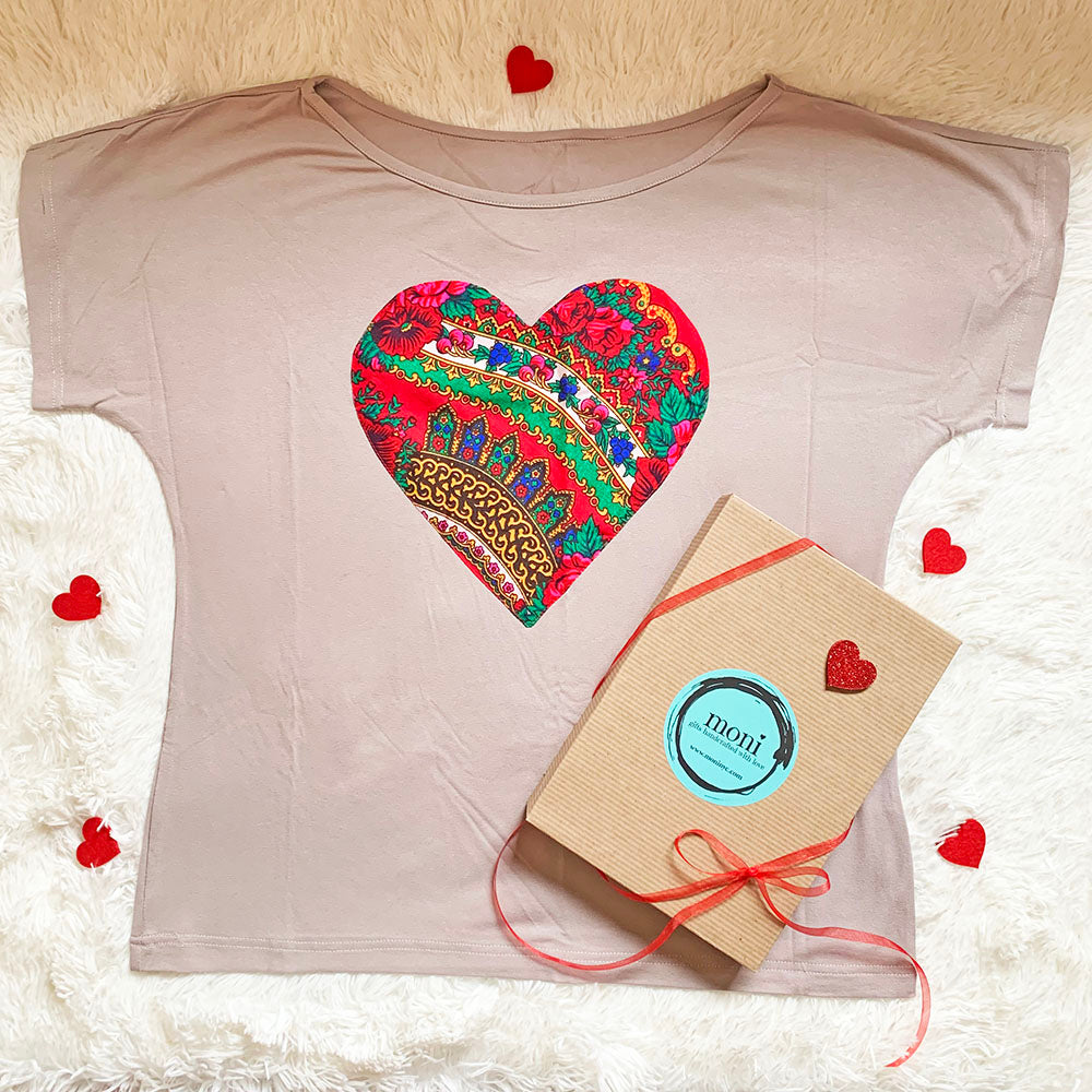 Valentine's Day Folk Blouse with Heart (Beige)