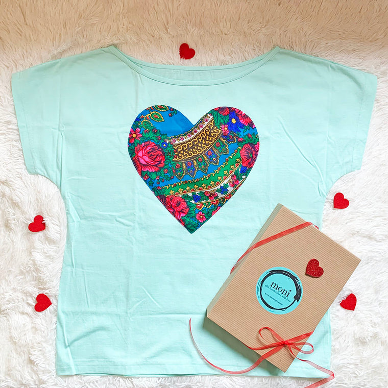 Valentine's Day Folk Blouse with Heart (Aqua)