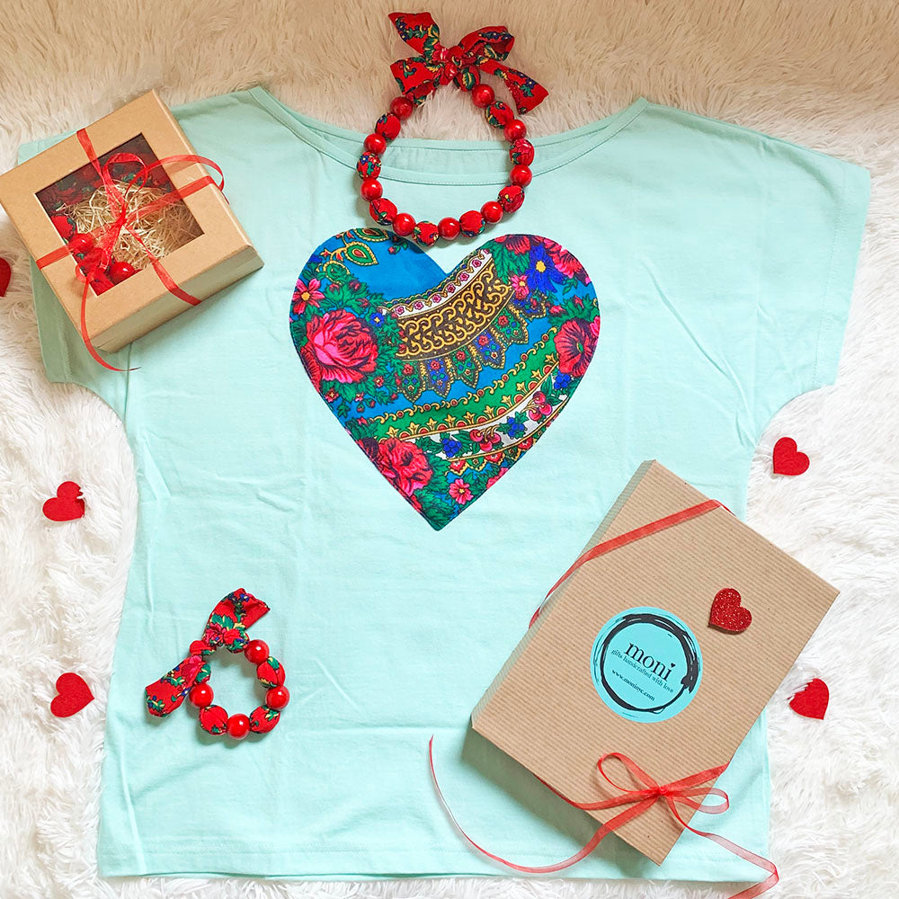 Valentine's Day Folk Blouse w/Heart & Jewelry Set (Aqua)