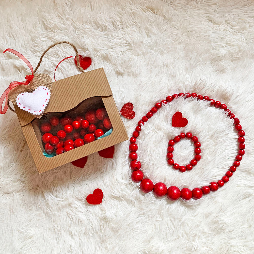 Valentine's Day Wooden Jewelry Set (Necklace & Bracelet)