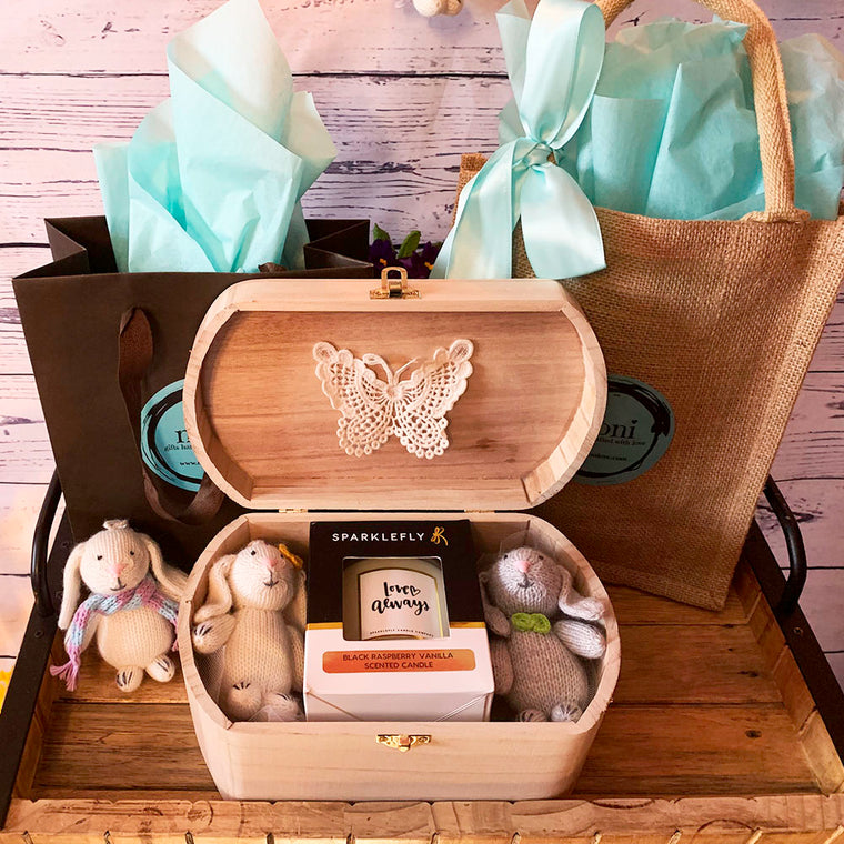 Wooden Memory Box w/Two Bunnies and Candle (Design 1) & Free Extra Bunny