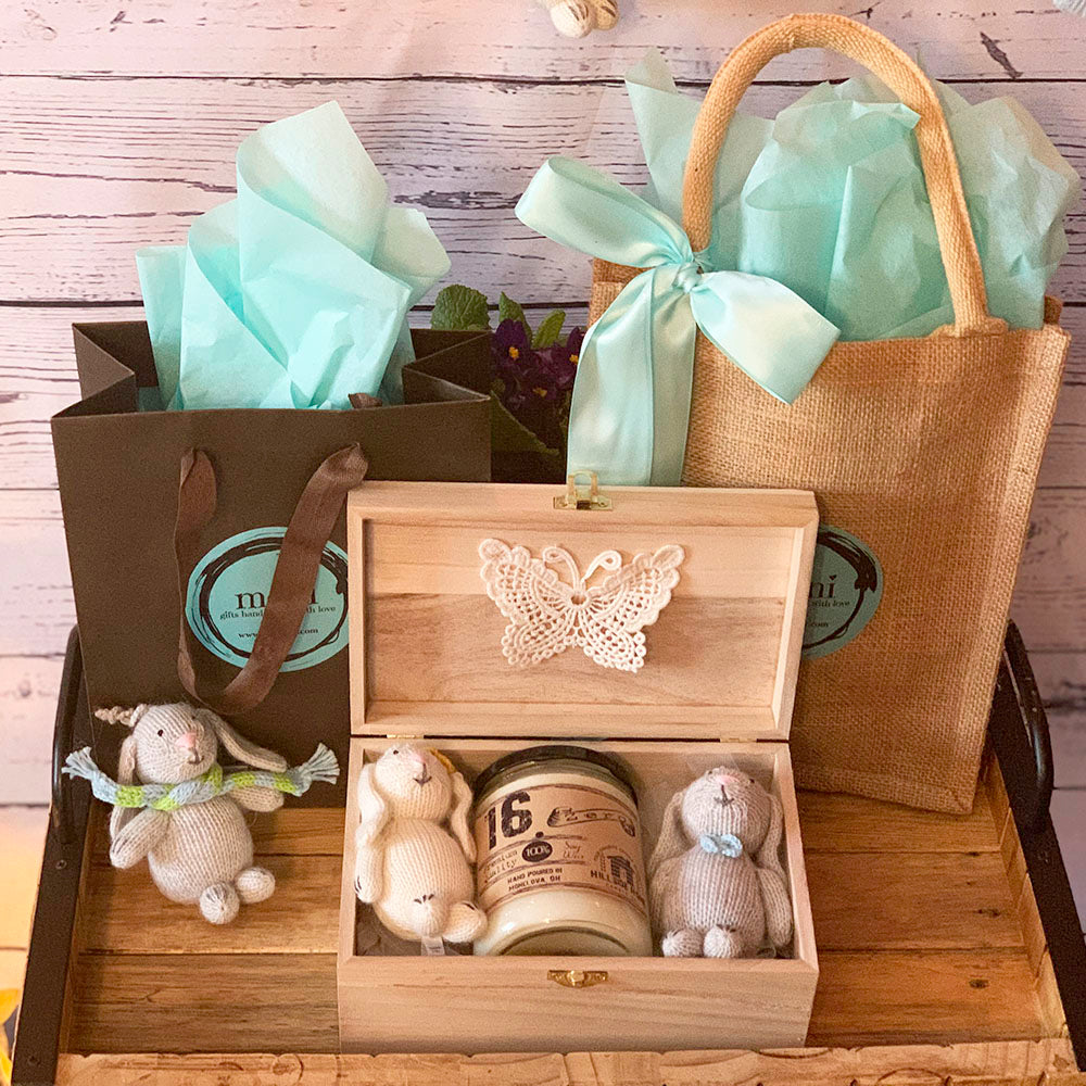 Wooden Memory Box w/Two Bunnies and Candle (Design 5) & Free Extra Bunny