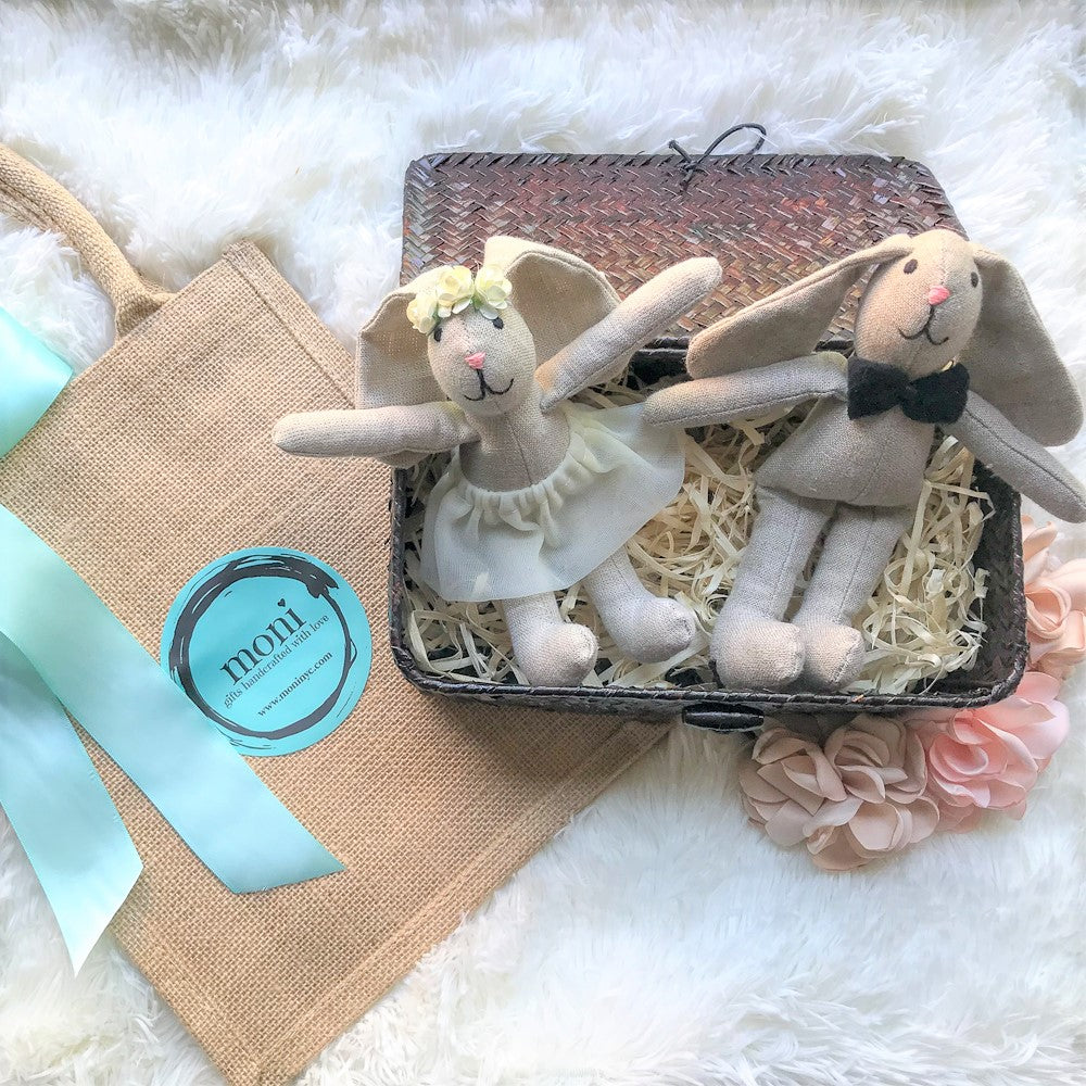 Newlywed Bunnies in a Basket in Handmade Gift Sets - Than you gifts