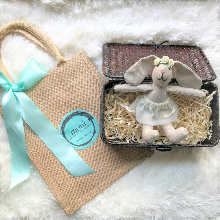Gift for ladies - Sweet Girly Bunny in a Basket (Wedding/First Communion) in Handmade Gift Sets