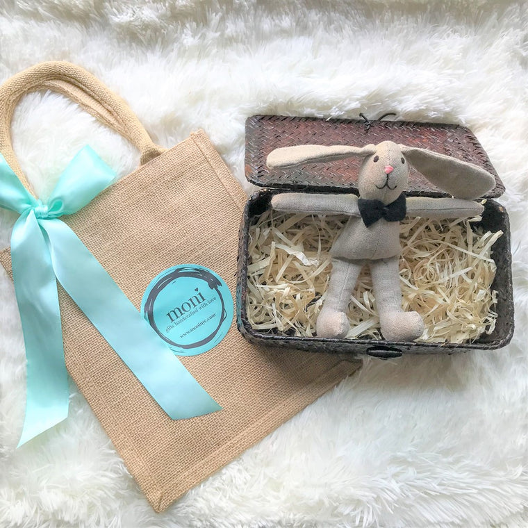 Handsome Bunny in a Basket (Wedding/First Communion) in Handmade Gift Sets - Than you gifts