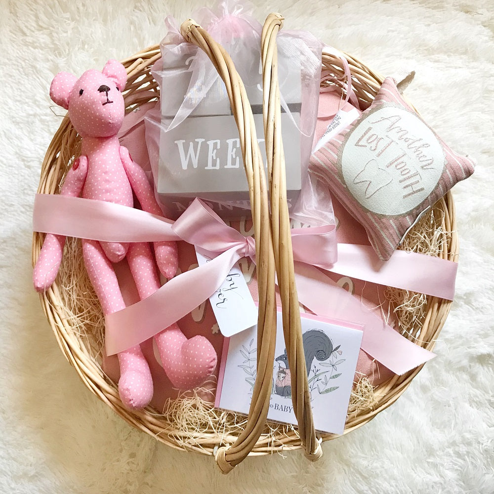 ... Baby Girl (Pink) Gift Basket w/Teddy Bear in Handmade Gift Baskets ...