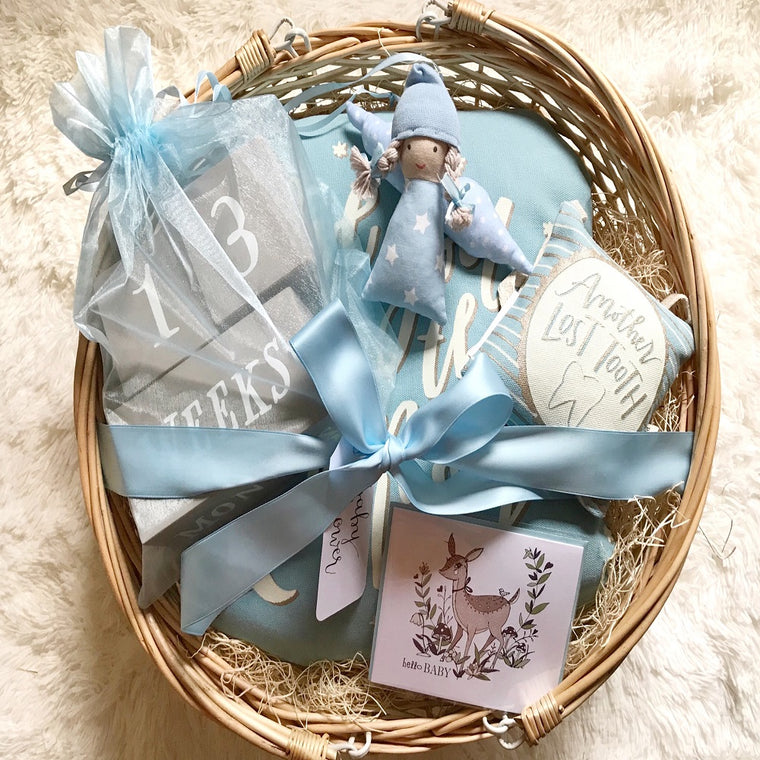 Baby Boy (Blue) Gift Basket w/Mini Angel Tilda in Handmade Gift Baskets
