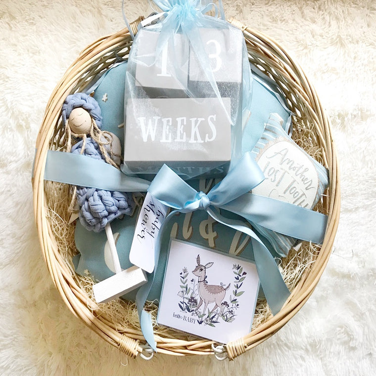 Baby Boy (Blue) Gift Basket w/Small Angel in Handmade Gift Baskets