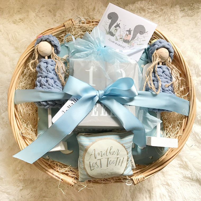 Baby Twins (Boys) Gift Basket w/Small Angels in Handmade Gift Baskets