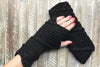 Black Knitted Fingerless Mittens in  Knit Mittens