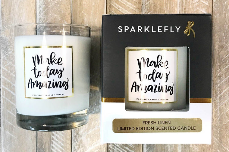 """Make Today Amazing""  Natural Coconut Wax Blend Scented Candle gifts  (Fresh Linen Scent) in Candles"