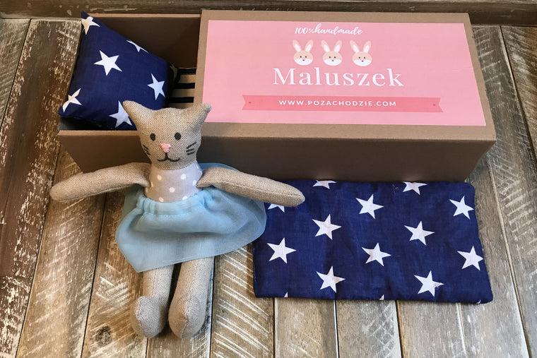 Sweet Little One in a Matchbox (Girl/Gray Cat in Blue Skirt) in Handmade Décor for Kids' Room