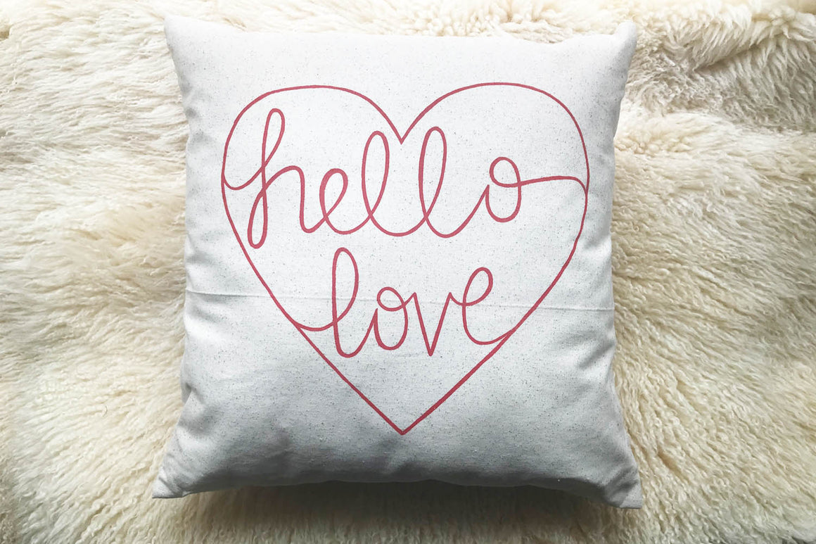 """Hello Love"" Accent Pillow with Insert in Pillows for bed or sofa"