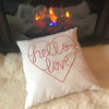 "White ""Hello Love"" Accent throw Pillow for couch"