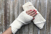 White Knitted Fingerless Mittens in Knit Mittens