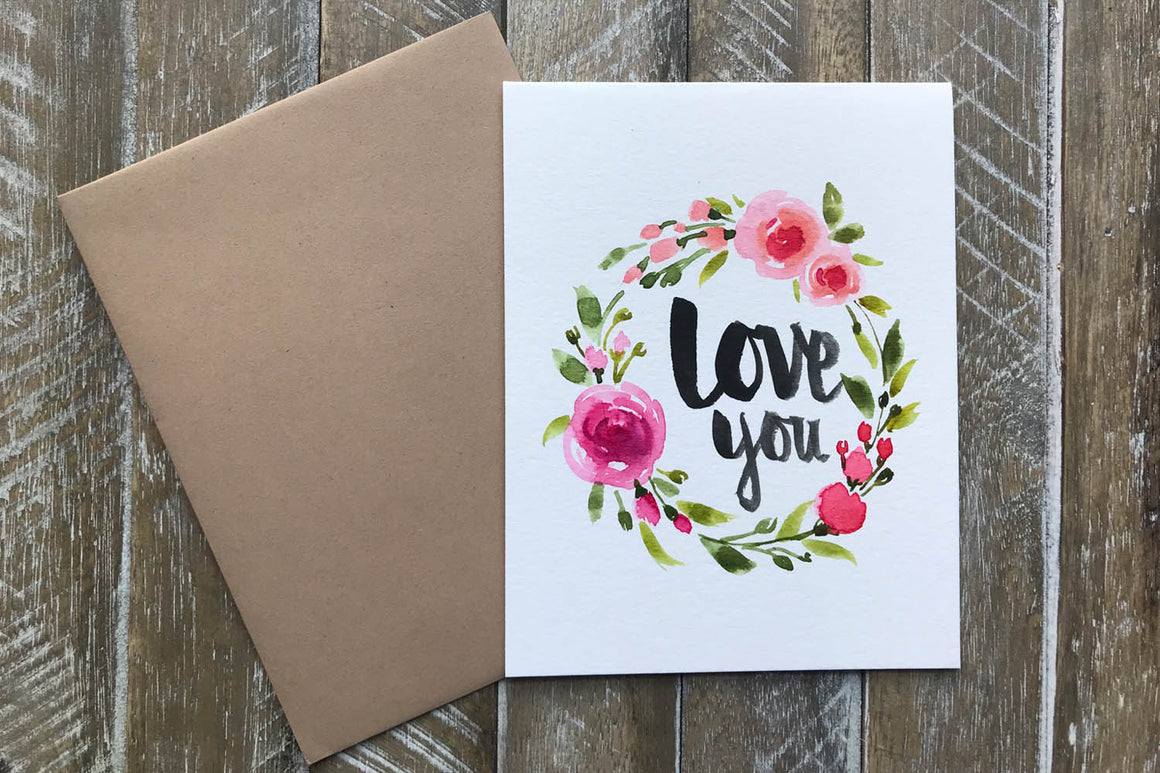 Hand painted greeting cards with love message m4hsunfo