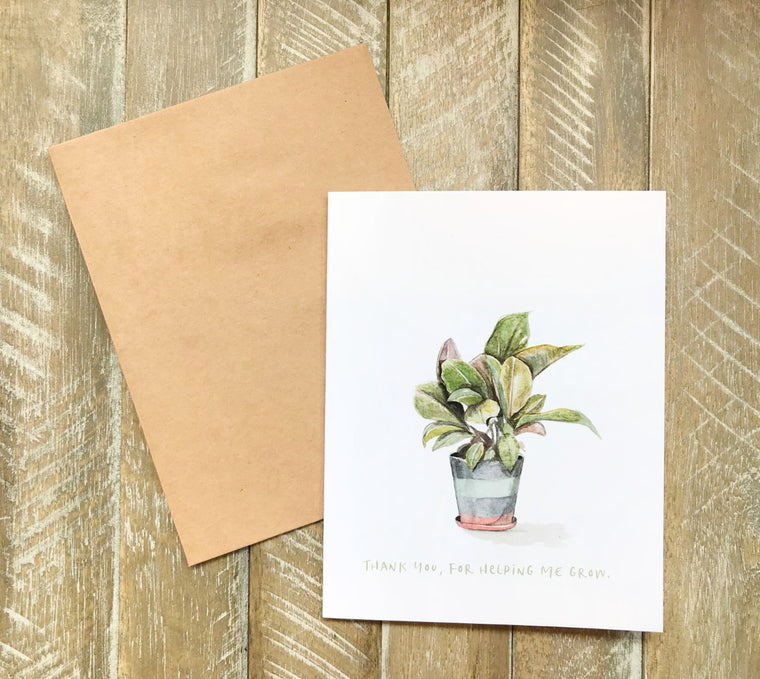"""Thank You for Helping Me Grow"" Card in Greeting Cards"