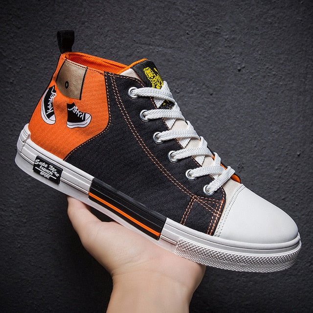 Running Canvas high top fashion sneakers  for boys