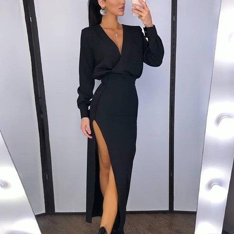 V Neck Women Long Sleeve Evening Party Dress