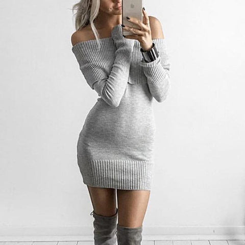 Off Shoulder Women Knitted Sweater Dress