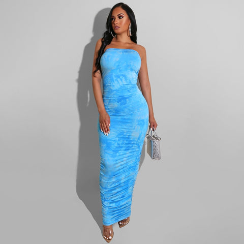 Tie Dye Long Women Dress