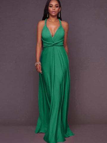 Plain V Neck Women's Maxi Dress