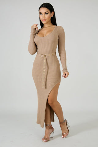 Ribbed Candy High split cotton dress