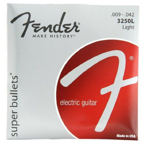 Fender 3250L Super Bullets Nickel Plated Steel Bullet End Electric Guitar Strings - Light