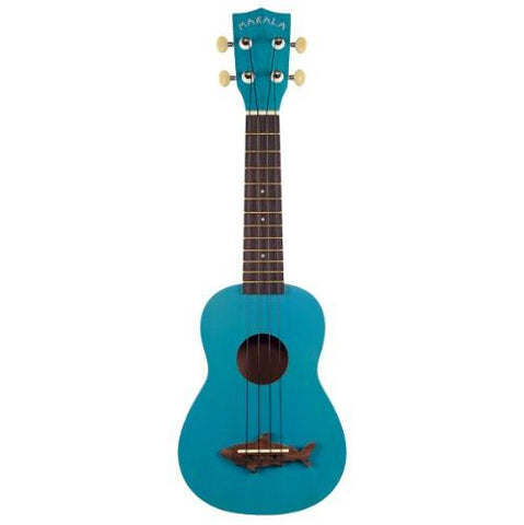 Makala MK-SS-BLU Shark Bridge Soprano Ukulele with Vintage Satin Finish - Mako Blue