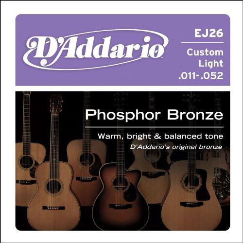 D'Addario EJ26 Phosphor Bronze Acoustic Guitar Strings, Custom Light .011-.052