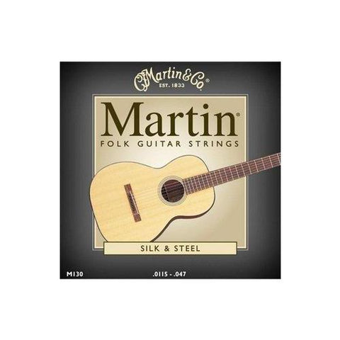 Martin M130 Silk and Steel Folk Guitar Strings, Medium