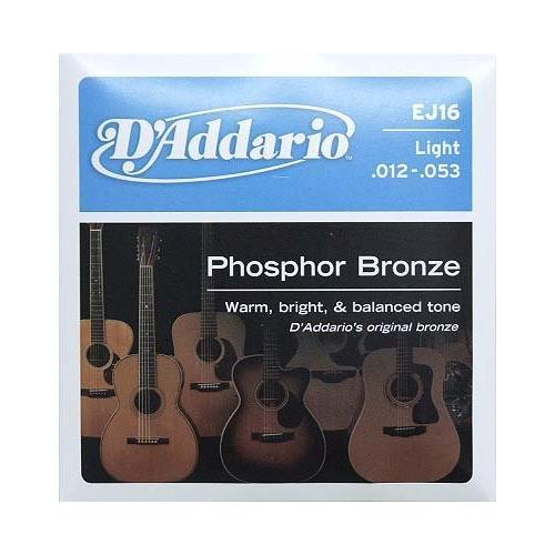 D'Addario EJ16 Phosphor Bronze Acoustic Guitar Strings, Light .012-.053
