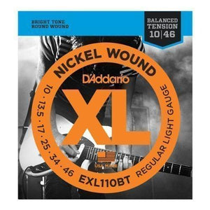 D'Addario EXL110BT Electric Guitar Strings, Balanced Tension, Regular Light (.010-.046)