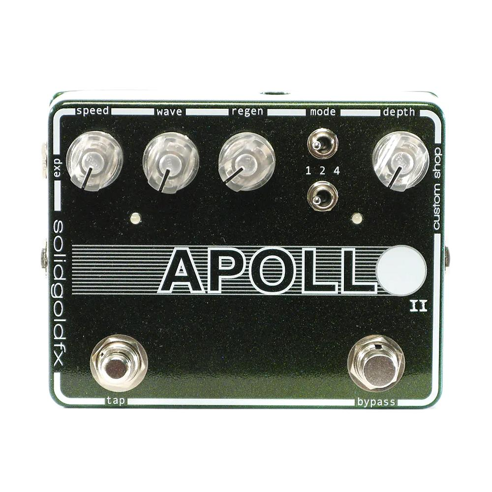 SolidGold FX Apollo II Tap Tempo Phaser, Galaxy Green Sparkle