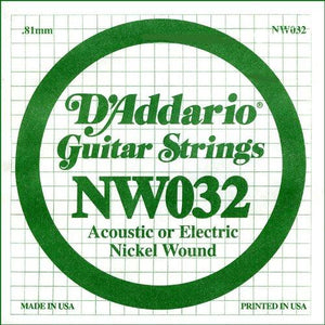 D'Addario NW032 Nickel Wound Electric Guitar Single String, .032