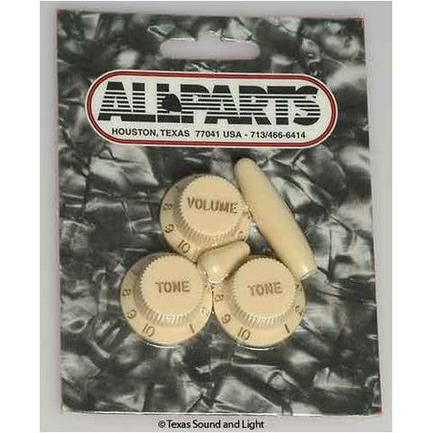 All Parts PK-0178-048 Strat Knob Set 1-Vol 2-Tone 1-Switch Knob 1-Tip Vintage
