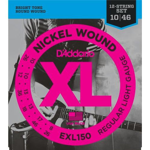 D'Addario EXL150 Electric Guitar Strings 12-String Set, Regular Light