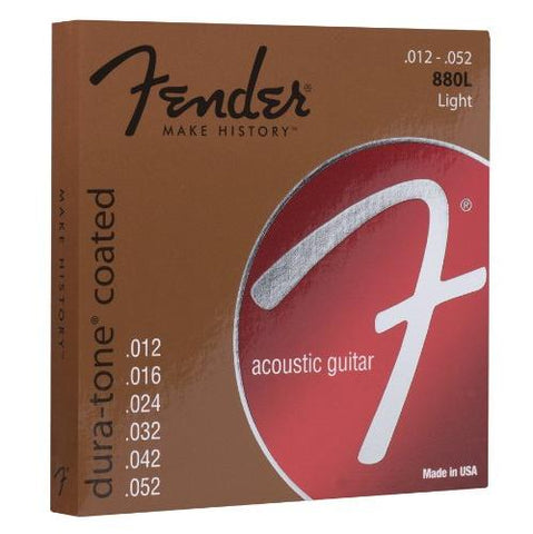 Fender 880L Dura-Tone Coated Bronze Acoustic Guitar Strings - Light