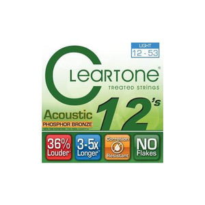 Cleartone Acoustic Phosphor Bronze Wound 12-53 Light Gauge Guitar Strings