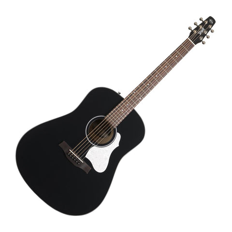 Seagull S6 Classic Black Acoustic Electric Guitar, Solid Cedar Top